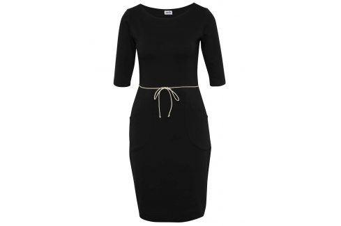 Černé pouzdrové šaty s kapsami miestni šaty na denní nošení