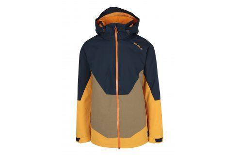 Žluto-modrá pánská zimní voděodolná bunda s kapucí O'Neill bundy