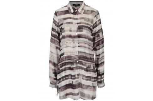 Krémovo- hnědá dlouhá vzorovaná košile Yest košile