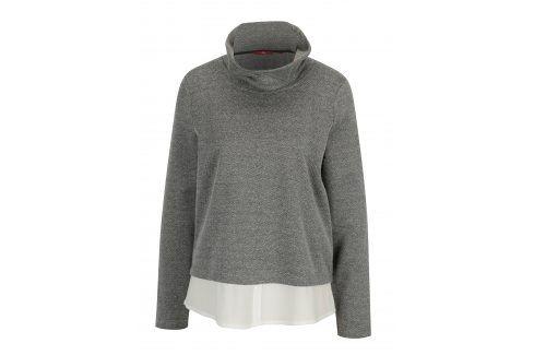 Černo-bílý dámský lehký svetr se stojáčkem a všitou košilí 2v1 s.Oliver Móda pro ženy