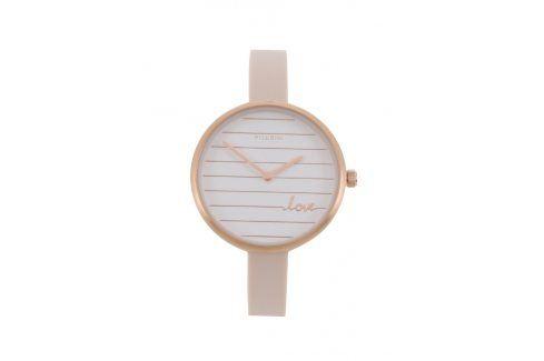 Dámské pozlacené hodinky v růžovozlaté barvě se silikonovým páskem Pilgrim hodinky