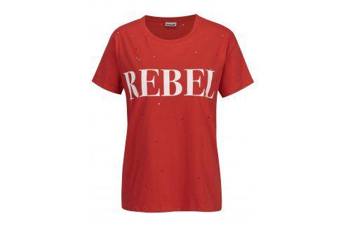 Červené tričko s potiskem a kamínky Noisy May Command trička s krátkým rukávem