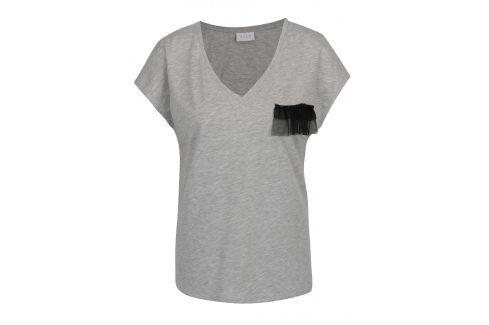 Šedé tričko s ozdobným detailem VILA Dreamers trička s krátkým rukávem