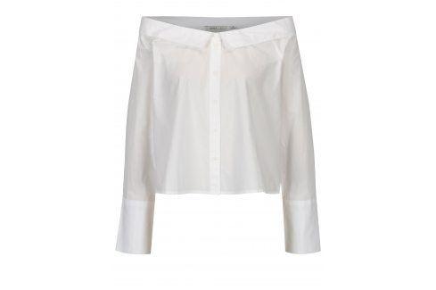 Bílá krátká košile s lodičkovým výstřihem ONLY Bambi košile