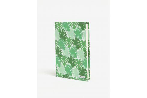 Zelený zápisník s motivem listů I Like Paper A6 Do pracovny