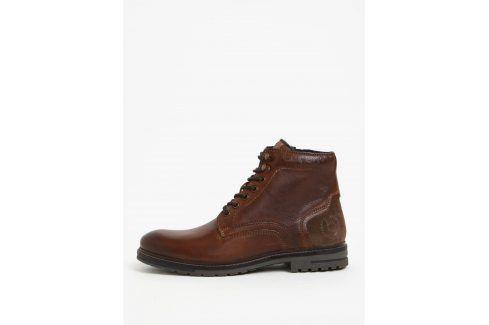 Hnědé pánské kožené kotníkové zimní boty bugatti Ringo na zimu