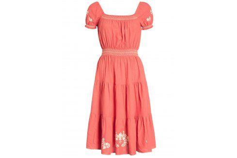 Červené šaty s květovanou výšivkou Blutsgeschwister šaty na denní nošení