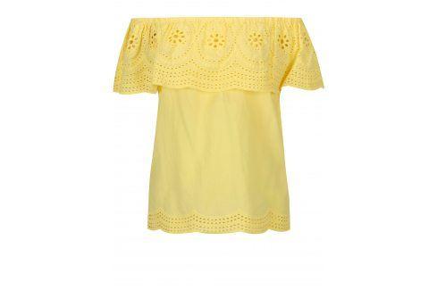 Žlutá halenka s krajkou a odhalenými rameny Dorothy Perkins halenky