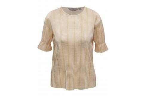 Béžové metalické žebrované tričko Dorothy Perkins Petite trička s krátkým rukávem
