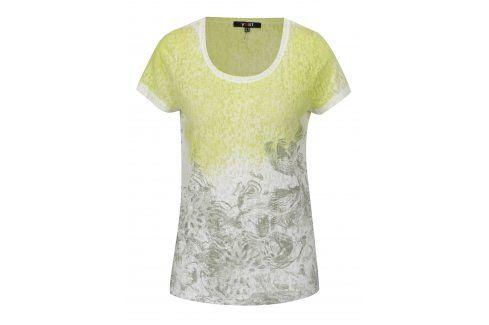 Bílo-zelené vzorované tričko s krátkým rukávem Yest trička s krátkým rukávem