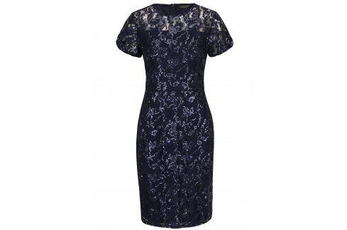 Tmavě modré krajkové pouzdrové šaty s flitry Dorothy Perkins společenské šaty