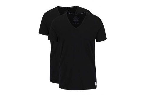 Sada dvou pánských trik pod košili v černé barvě Calvin Klein trika pod košile