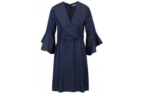 Modré džínové šaty s překládaným topem a zvonovými rukávy Dorothy Perkins šaty na denní nošení