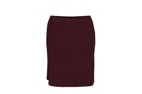Vínová žebrovaná sukně VILA Plissani Krátké