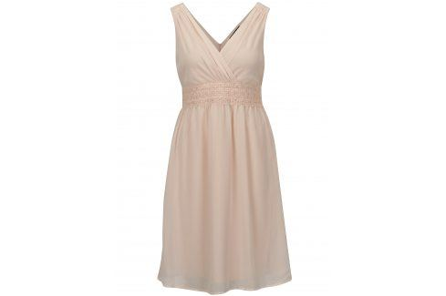 Světle růžové šaty s véčkovým výstřihem VERO MODA Mira šaty na denní nošení