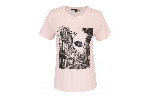 Světle růžové tričko s potiskem VERO MODA Nelik trička s krátkým rukávem