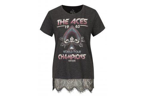 Tmavě šedé tričko s potiskem Aces a krajkou ONLY Prince trička s krátkým rukávem