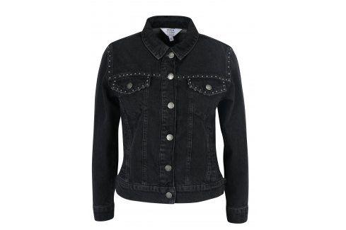 Černá džínová bunda s plastickými detaily Miss Selfridge džínové bundy