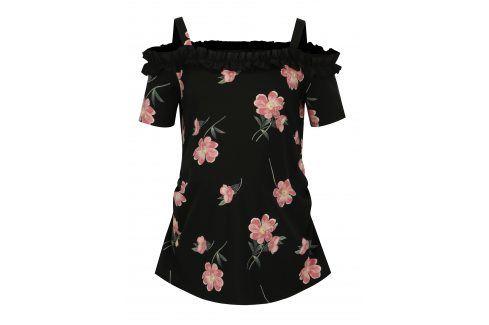 Černé květované těhotenské tričko Dorothy Perkins Maternity Móda pro těhotné