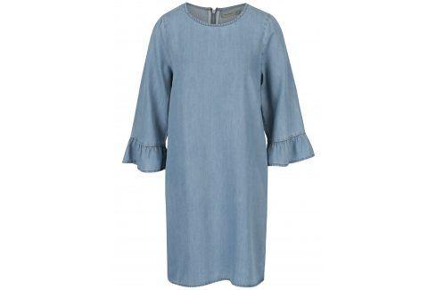 Modré džínové šaty s volány na rukávech VERO MODA Lissy šaty na denní nošení
