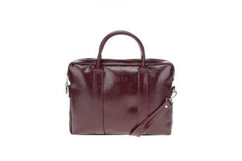 Vínová pánská lesklá kožená taška na notebook Solier tašky
