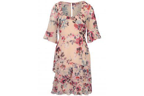 Růžové květované šaty French Connection šaty na denní nošení