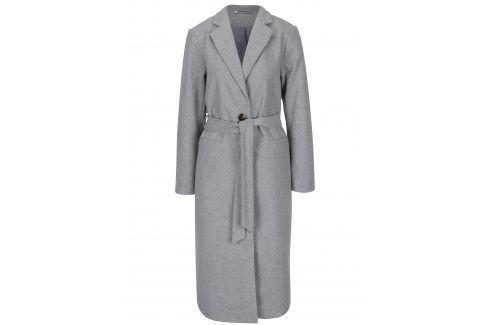 Světle šedý dlouhý kabát s páskem Noisy May Minna trenčkoty a lehké kabáty