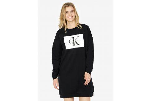Černé mikinové šaty Calvin Klein Jeans Dena šaty na denní nošení