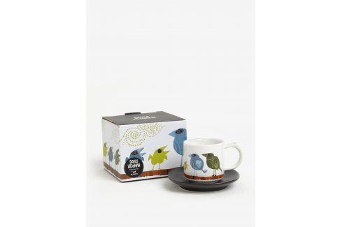 Bílý hrnek na espresso s potiskem a podšálkem Magpie Family of Birds Espresso Cup & Saucer Family hrnky