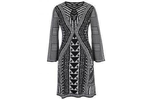 Černo-bílé vzorované šaty s dlouhým rukávem Desigual Hayley šaty na denní nošení
