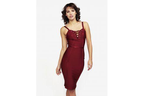 Vínové šaty se šněrováním MISSGUIDED společenské šaty