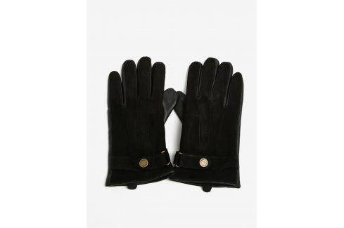 Černé semišové rukavice Selected Homme Eric čepice, šály, rukavice