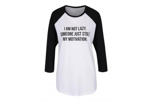 Černo-bílé unisex tričko s 3/4 rukávem ZOOT Originál I am not lazy trika s dlouhým rukávem