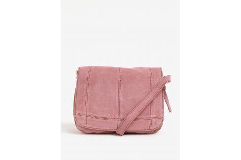 Růžová semišová crossbody kabelka Pieces Leana kabelky