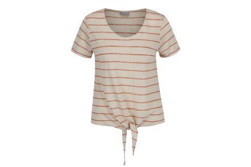 Hnědo-béžové pruhované lněné tílko s uzlem VERO MODA Reza trička s krátkým rukávem