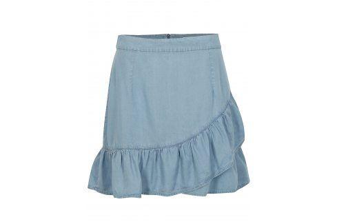 Světle modrá sukně s volánem ONLY Kessi Krátké