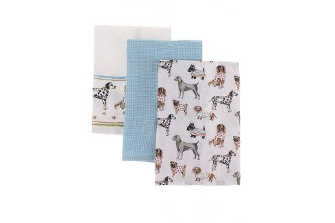 Sada tří modro-krémových utěrek s motivem psů Cooksmart kuchyňský textil