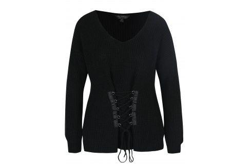 Černý svetr se šněrováním Miss Selfridge Móda pro ženy