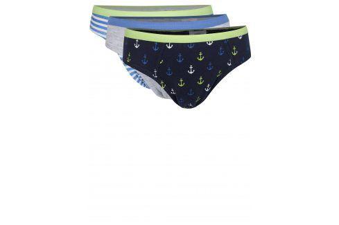 Sada tří šedo-modrých klučičích slipů s potiskem 5.10.15. Spodní prádlo, pyžama,  plavky
