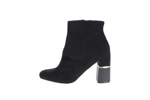 Černé kotníkové boty v semišové úpravě na podpatku Miss Selfridge Boty
