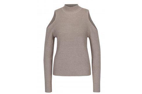 Béžový svetr s průstřihy na ramenou VILA Heida Móda pro ženy