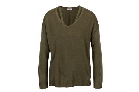 Khaki svetr s průstřihy Jacqueline de Yong More Móda pro ženy