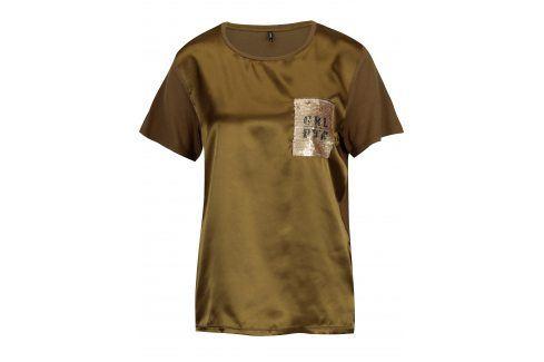 Khaki lesklé tričko s flitrovou výšivkou ONLY Sally trička s krátkým rukávem