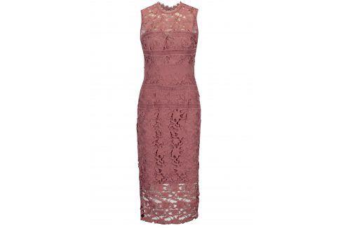 Růžové krajkové šaty bez rukávů Little Mistress společenské šaty