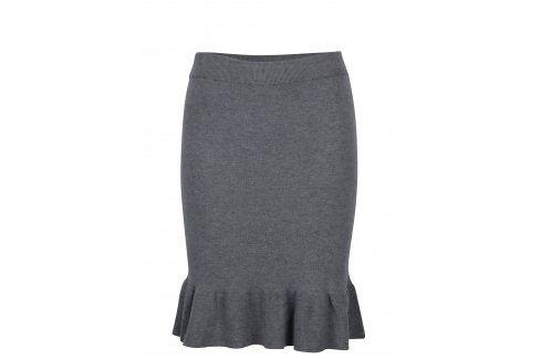 Šedá svetrová sukně s volánem VILA Olivina Polodlouhé, ke kolenům