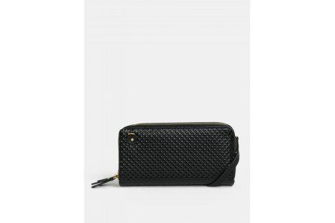 Černá lesklá velká peněženka s plastickým vzorem Anna Smith Peněženky