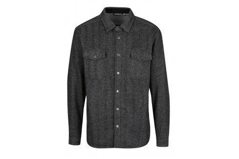 Tmavě šedá vzorovaná košile s příměsí vlny SUIT Josh neformální