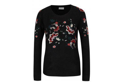 Černý svetr s výšivkami květin VILA Estoni Móda pro ženy