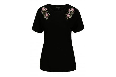 Černé tričko s výšivkou Dorothy Perkins trička s krátkým rukávem