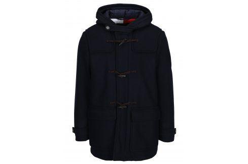 Tmavě modrý pánský zimní vlněný kabát Tommy Hilfiger Jersey kabáty